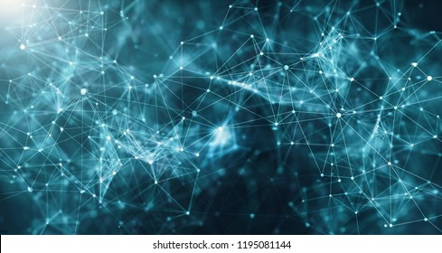 Concept of Network. Abstract futuristic technology with polygonal shapes on dark blue background. Connection technologies backdrop, internet communication.