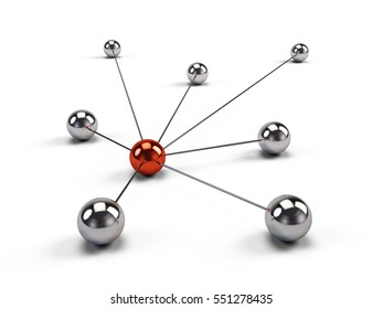 Concept of Network, internet communication and social media. 3d illustration