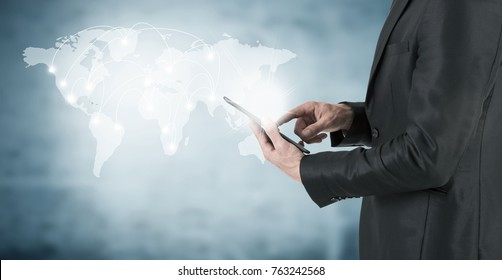 concept of networks and global connection of communications