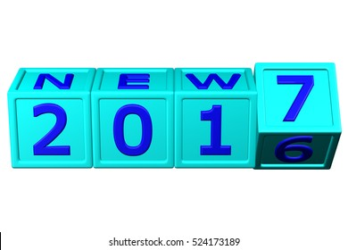 Concept: New Year 2017 blocks, isolated on white background. 3D rendering.