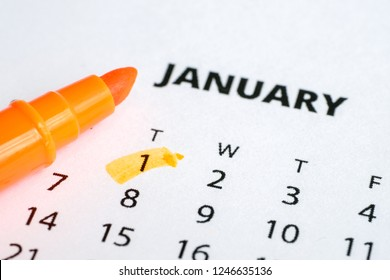The concept of the new year. The first of January is marked on the calendar 2019 with an orange marker.