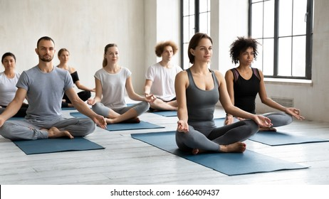 Concept of no stress fatigue relief after work out at yoga class. Group of multi-ethnic millennial people and caucasian coach seated cross-legged indoors do meditation practice together during session