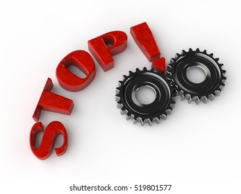 the concept of occupational safety, gear two metal gears and a stop sign, the image on a white background, 3D Rendering