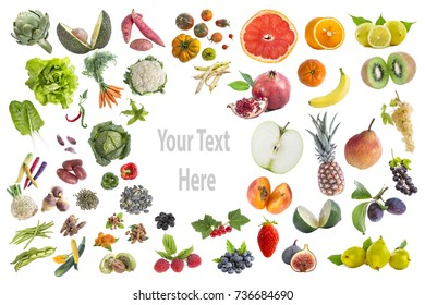 concept ofConcept of healthy food, Various Fruits and vegetables to eat five a day on withte with copy-txte in the middle