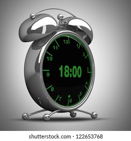 concept. Old-fashioned alarm clock with technology screen. High resolution. 3D image
