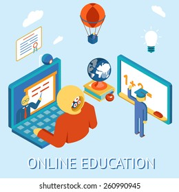 Concept of online education. Study distance by computing. Remotely and independently