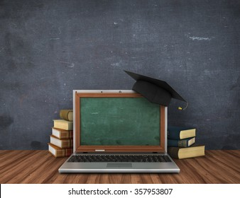Concept of online studying or webinar. Empty school board in the laptop screen near stack of the books.