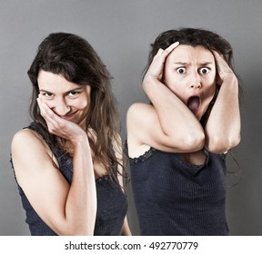 concept of opposite female expressions acting embarrassed, shy and seductive, and scared and shouting with panicking hand gesture within the same woman, grey background