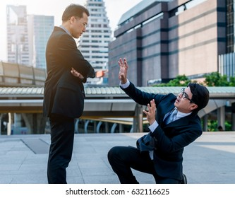 Concept of oppressed by the boss with businessman by oppressive