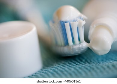 concept of oral cleaning with toothbrush and toothpaste
