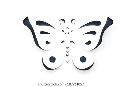A concept of origami butterfly cut the paper, abstract background