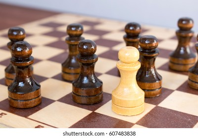 Concept of originality and leadership, chess pieces on the chessboard.