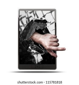 CONCEPT. pad with with broken screen the hand isolated on white background High resolution