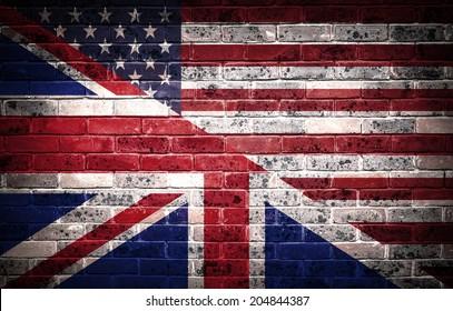 A concept of the partnership between Britten and America. American and British partnership.
