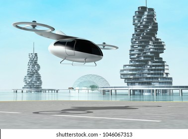 Concept of a passenger drone. City transport. Air taxi. 3d illustration
