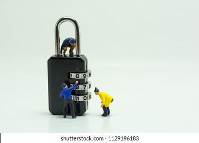 Concept, People are decrypting unlock padlock, Decrypt the key