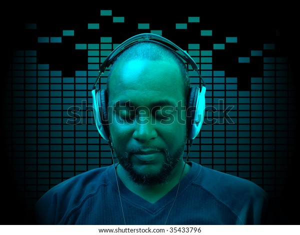 concept photo of a forty something year old african american man wearing headphones while listening to music with equalizer spectrum in the background