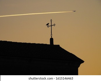 Concept photo : LEARNING TO FLY. A bird observing an airplane flying in the sky at sunset