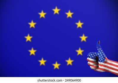 Concept photo - positive attitude of United States for the European Union