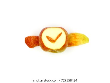 Concept photography, making a watch from a fresh fruit, apple isolated on white
