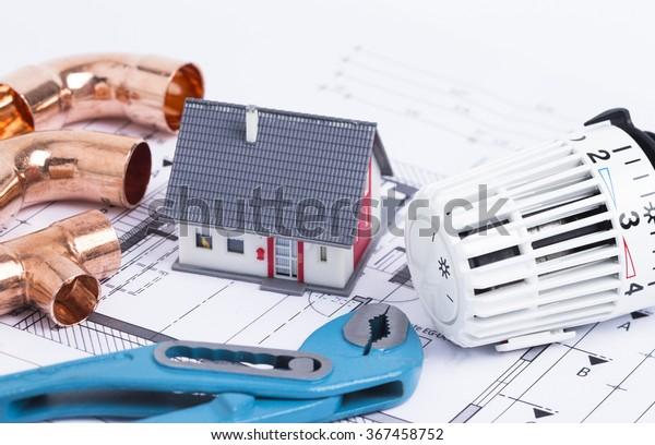 Concept Fotografie für eine Sanitäreinstallung eines Einfamilienhauses