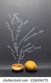 Concept of the phrase mathematics in a nutshell. Mathematical formulas drawn on black paper with walnuts