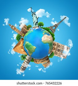 The concept of the planet with architectural landmarks of the world