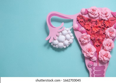 Concept polycystic ovary syndrome, PCOS awareness. Women reproductive system. Paper sculpture with flowers, copyspace