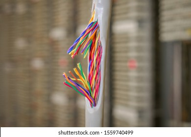 Concept of poor internet connection and communication problems. Damaged insulating material of a stranded telephone wire. Gap color telecommunication cable. Communication breakdown is close up