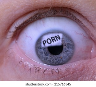 Concept of Porn addiction an eye looking at a screen of pornography
