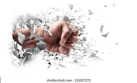 concept. power fist coming out of cracked ground isolated on white background
