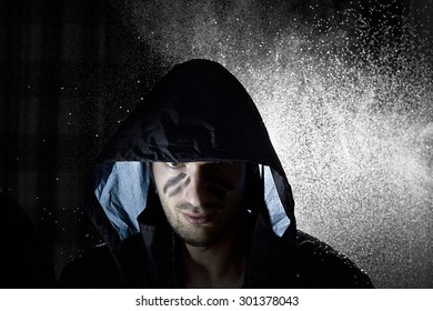concept of power, man in the rain