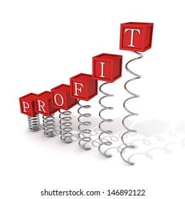 concept profit red bar ladder blocks on spring spirals