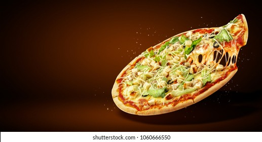 Concept promotional flyer and poster for Restaurants or pizzerias, template with delicious taste pizza Caesar salad, mozzarella cheese, cherry tomatoes and copy space for your text.