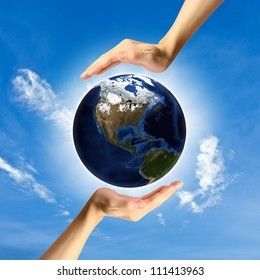 The concept of protecting the world., Elements of this image furnished by NASA
