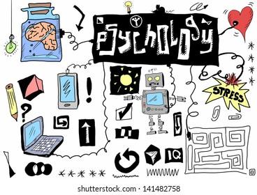 concept psychology communication, color doodle icons and symbols