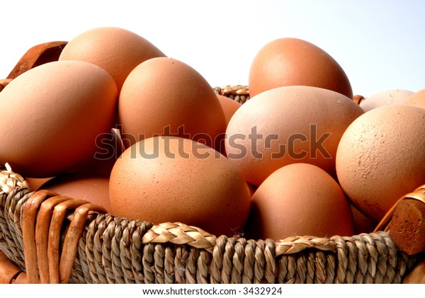 Concept - put all eggs in one basket. Isolated on white