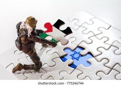 Concept, Puzzle with Palestine and Israel flag.  Diplomatic Crisis