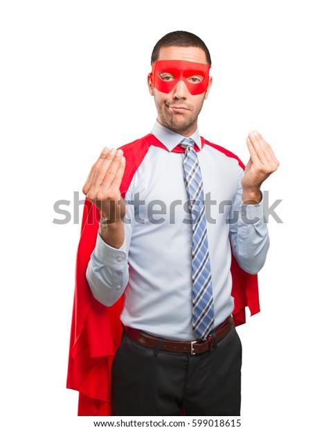 Concept of a puzzled super businessman
