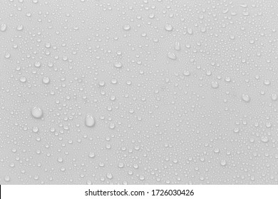 The concept of raindrops falling on a gray background Abstract wet white surface with bubbles on the surface Realistic pure water droplet water drops for creative banner design