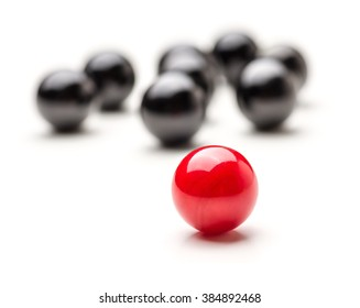 Concept with red and black marbles - Teamleader