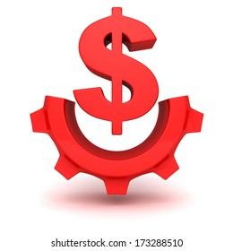 concept red dollar currency symbol work gear icon