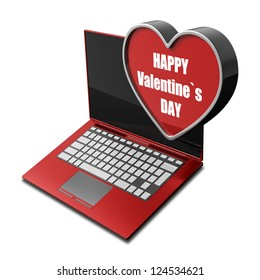 concept. Red laptop with with big heart. isolated on white background High resolution 3d render