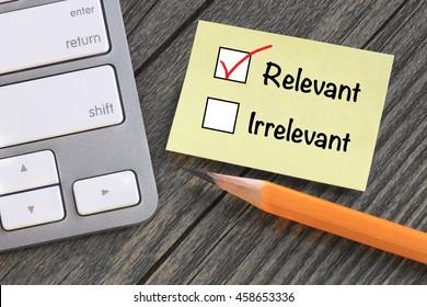 concept of relevant versus irrelevant