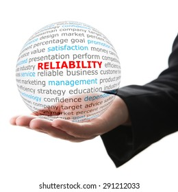 Concept of reliability in business. Words on the transparent ball in the hand
