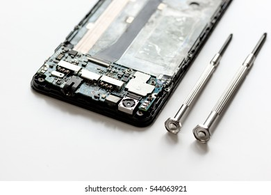 concept repair smartphone gadgets on white background