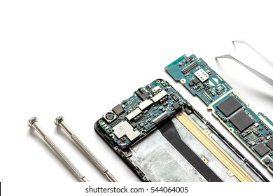concept repair smartphone - parts of digital gadgets with tools