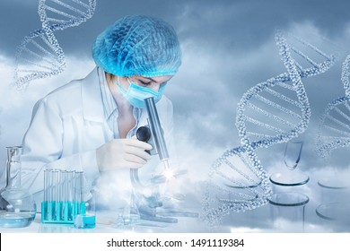 The concept of research and DNA testing . The laboratory is conducting a study of medical samples.