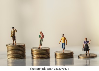 Concept of Retirement Money Plan and savings growth. Old and young woman stand on stacks of gold coins isolated on white and orange background.money saving. Investment concept. retirement concept.