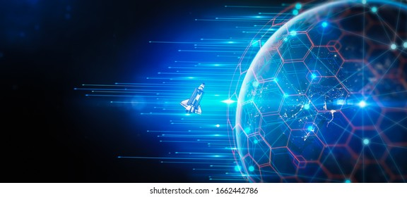 Concept of Revolutionizing the internet by Launching satellites up technology for internet business.World of global network for IoT and blockchain. Elements of this image furnished by NASA.